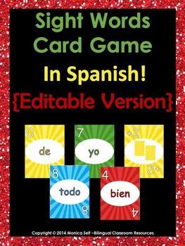 Are you looking for a fun way to practice sight words in Spanish with your class? Play sight words Uno with them. I have included the first 80 sight words in Spanish from de Real Academia Espaola.Words included are: de, la, que, el, en, y, a, los, se, del, las, un, por, con, no, una, su, para, es, al, lo, como, ms, o, pero, sus, le, ha, me, si, sin, sobre, este, ya, entre, cuando, todo, esta, ser, son, dos, tambin, fue, haba, era, muy, aos, hasta, desde, est, mi, porque, qu, solo, han, yo…