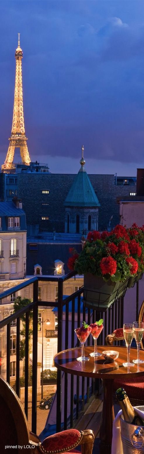 The #Eiffel Tower, a balcony, two glasses of wine. You wanted something more?