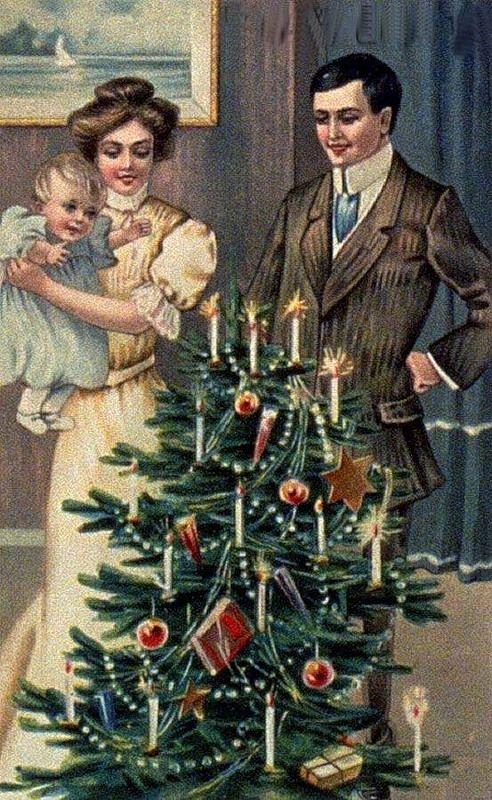 Старинная открытка елка, марта открытках