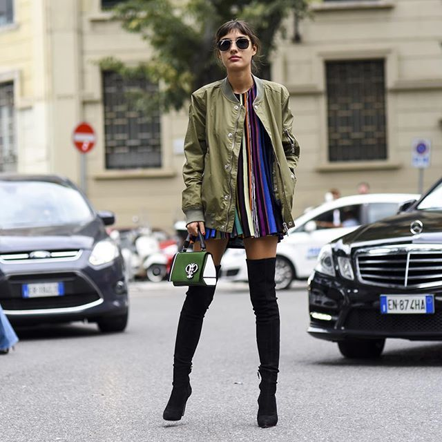 31 Perfect Looks To Copy This October #refinery29  http://www.refinery29.com/october-outfit-of-the-day-ideas#slide-6  Pair a shiny bomber with thigh-high boots and even the skimpiest of dresses instantly becomes fall-ready.Missoni dress, Oscar Tiye shoes, Emilio Pucci bag....