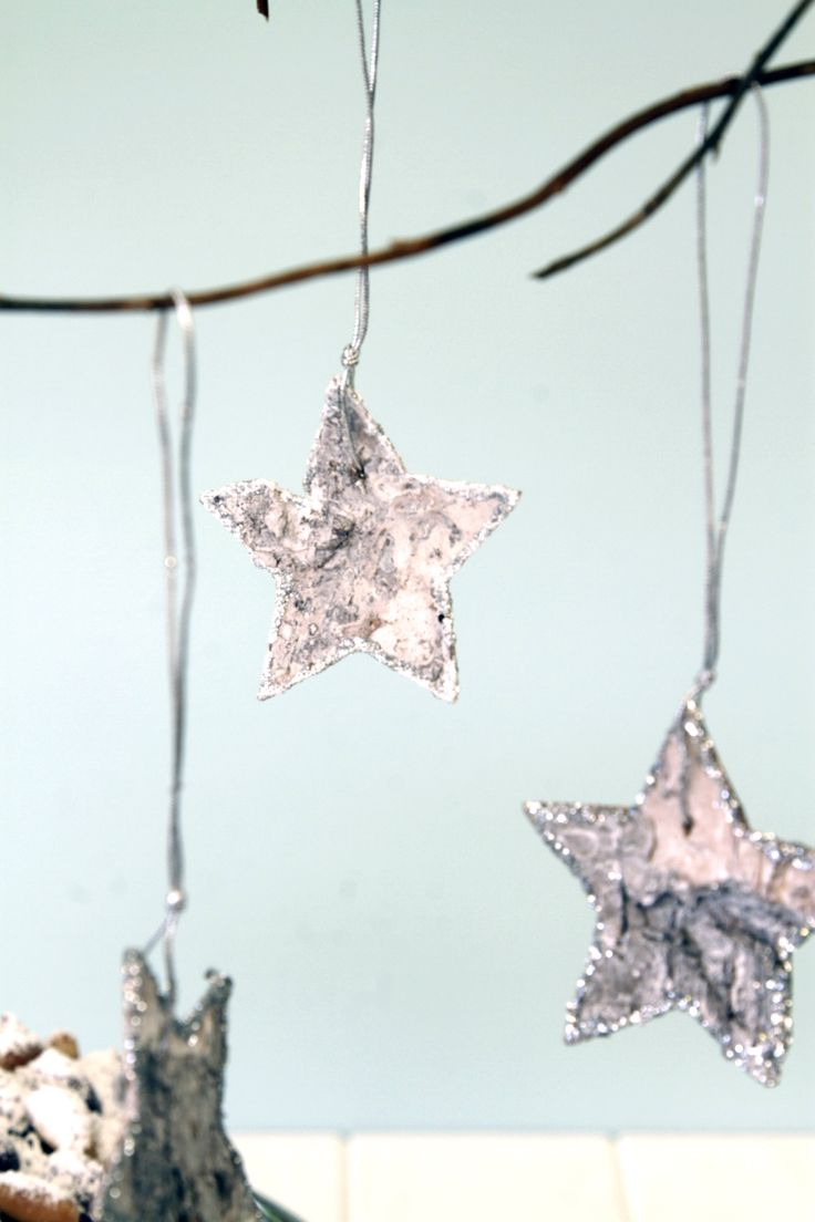 Birch Tree Stars edged in Silver Glitter, perfect for the tree or hanging off a bundle of hanging twigs | Aqua Silver White Christmas Decorations | The Paper Lantern
