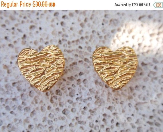 SALE 10% OFF gold heart textured stud earrings post by preciousjd