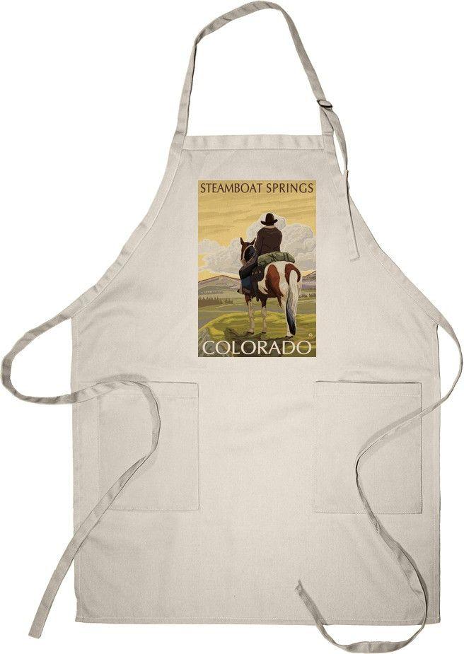 Steamboat Springs, Colorado - Cowboy on Horseback - Lantern Press Artwork