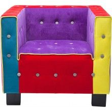 Fauteuil Cube Button Multicolore Kare Design