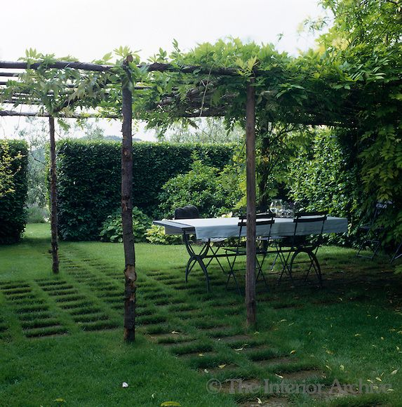 A wisteria covered pergola