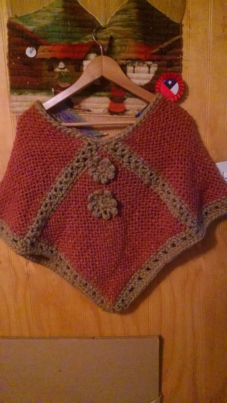 Poncho a telar con lana de Oveja