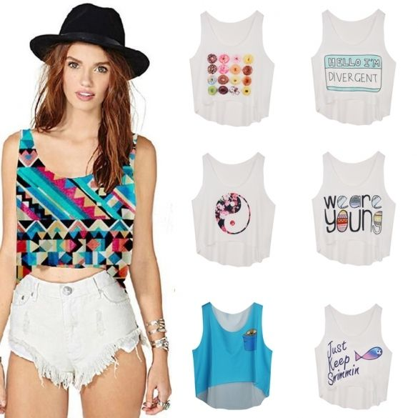 Fashion Lady Women Casual Sleeveless O-neck Sexy Print Crop Top