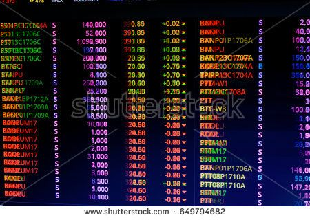 Stock market chart and Stock market data on LED display concept.