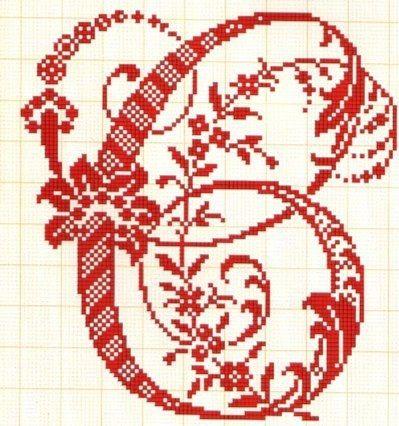 Letras grandes muy elegantes C - Abecedarios punto de cruz ...
