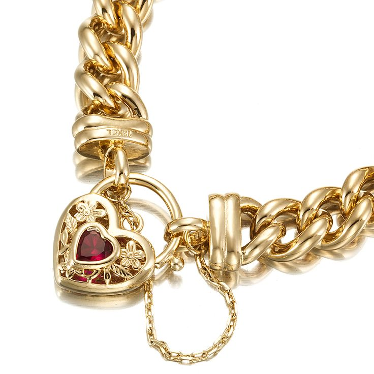 18ct Yellow Gold Layered Chunky Curb Bracelet with Filigree and Ruby Stone Locket   Allure Gold