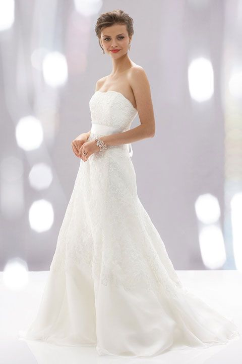 A-line organza sleeveless bridal gown