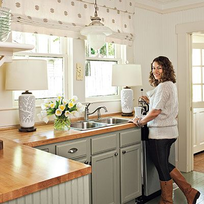 Small Cottage Kitchen - Kitchen Inspiration - Southern Living  Love the wood countertops