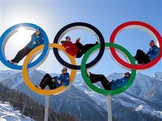 Olympians get comfortable in Sochi: Austrian alpine skiers Georg Streitberger, Klaus Kroell, Max Franz, Joachim Puchner and Romed Baumann pose in the Olympic Rings on Feb. 4 at the Mountain Olympic Village at the Rosa Khutor Alpine center in Sochi.
