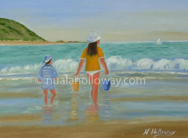 """""""Summer Holidays"""" by Nuala Holloway - Oil on Canvas #Sand #Summer #Holidays #Painting"""