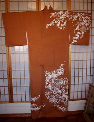 "Japanese Art Silk Kimono ""Antique Homongi"" Flowers Leaves Cart Pine Hand Painted | eBay $140"