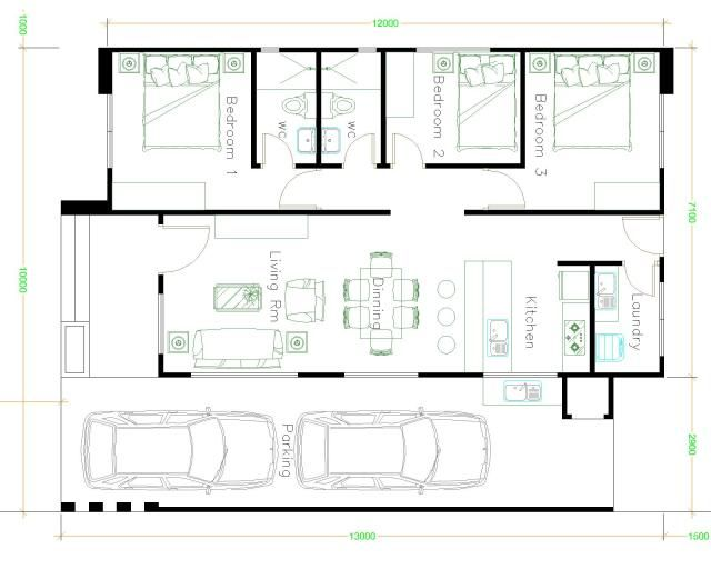 House Design Plans 10x13 With 3 Bedrooms Sam House Plans House Layout Plans Home Design Plans House Design