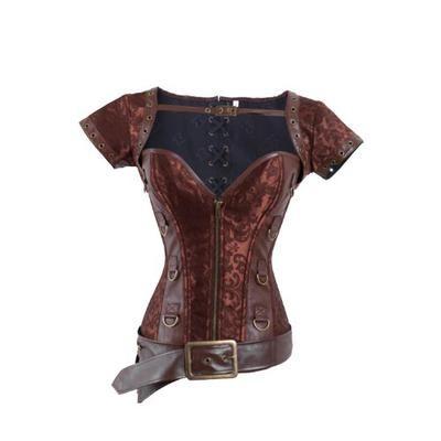 I-Glam Damen Überbrustkorsett, Brokat, mit Reißverschluss, Stahlstangen, Steampunk - xl - Coffee #corset #women #covetme #iglam