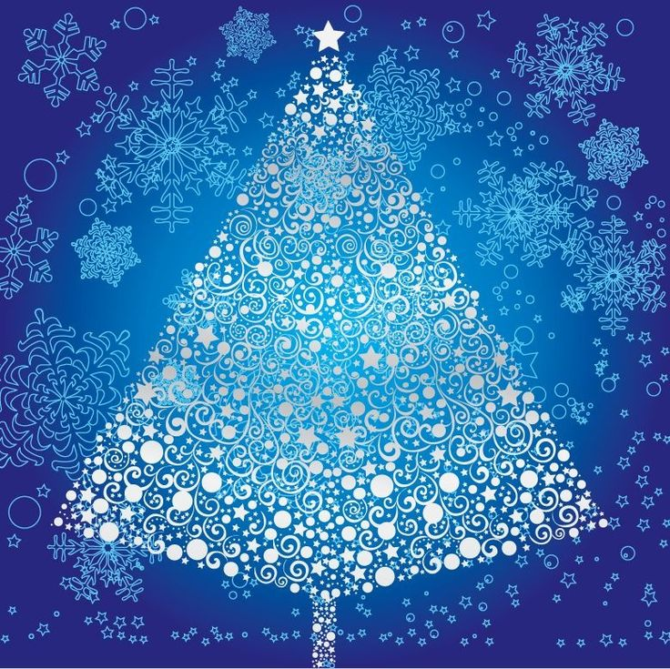 Abstract Christmas Tree With Snowflake Vector Art Free