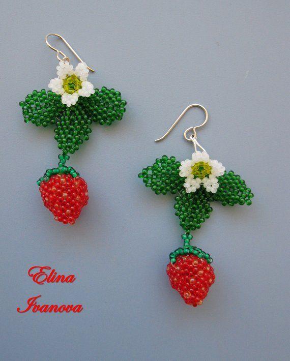 Strawberry Beaded Earrings Summer Earrings Beadwoven Unique