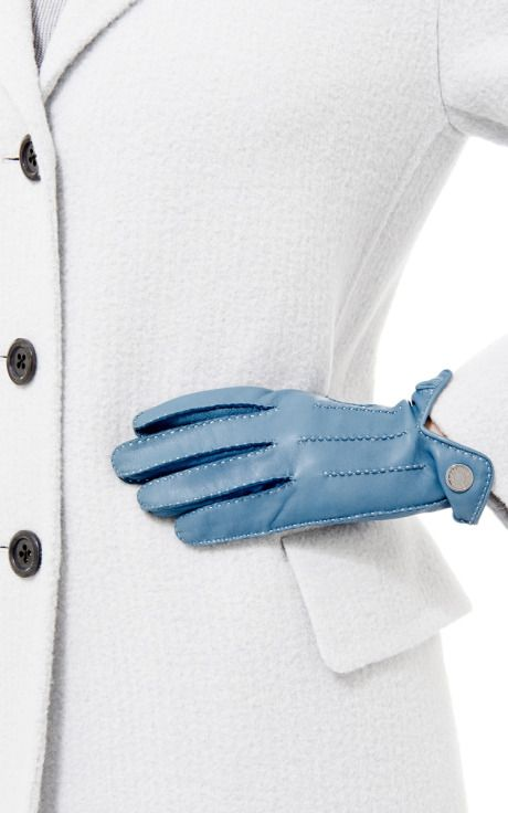 Hermes Blue Lambskin Clou De Selle Gloves by What Goes Around Comes Around for Preorder on Moda Operandi
