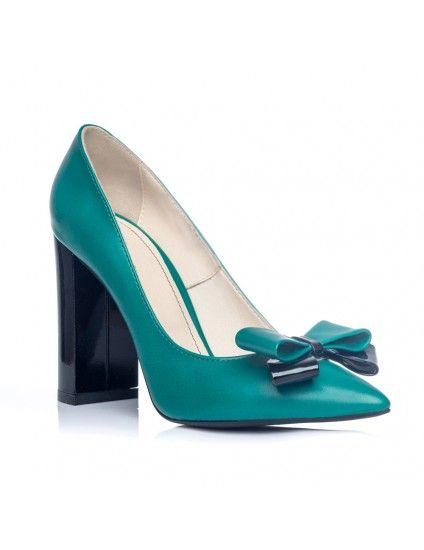 Pantofi Stiletto Toc Gros Turcoaz S1