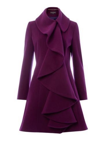 Pied a Terre Ruffle front coat Purple - House of Fraser