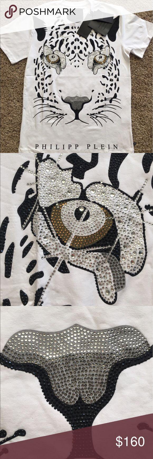 Philipp Plein Men t Shirt Tiger Embellished With Rhinestones on front and metal logo on back. Philipp Plein Shirts Tees - Short Sleeve