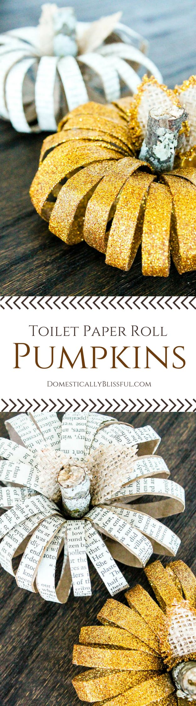 DIY Toilet Paper Roll Pumpkins | http://domesticallyblissful.com/diy-toilet-paper-roll-pumpkins/