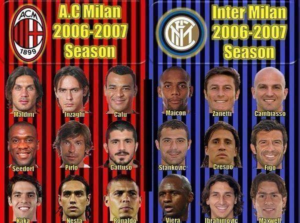 W sezonie 2006-2007 Inter Mediolan i AC Milan mieli w swoich składach wielkich piłkarzy • Kiedyś to były potęgi • Zobacz fotę >> #acmilan #milan #inter #football #soccer #sports #pilkanozna