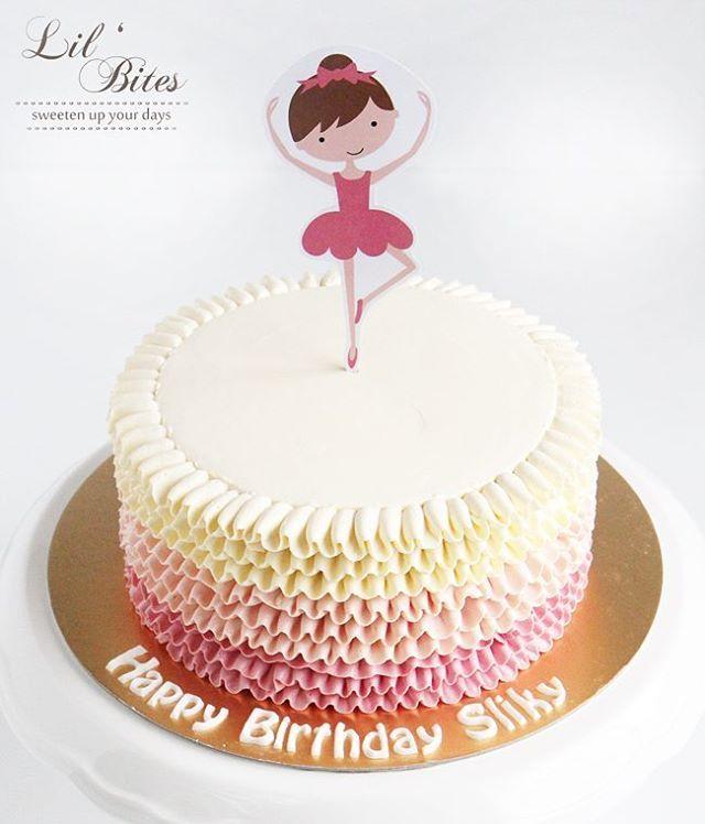 Ballerina themed ombre ruffles cake