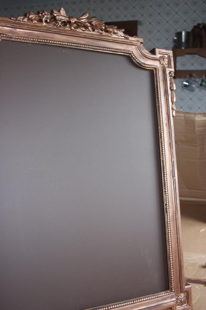 How to DIY a fancy chalkboard frame for seating plan. Source: Offbeat Bride