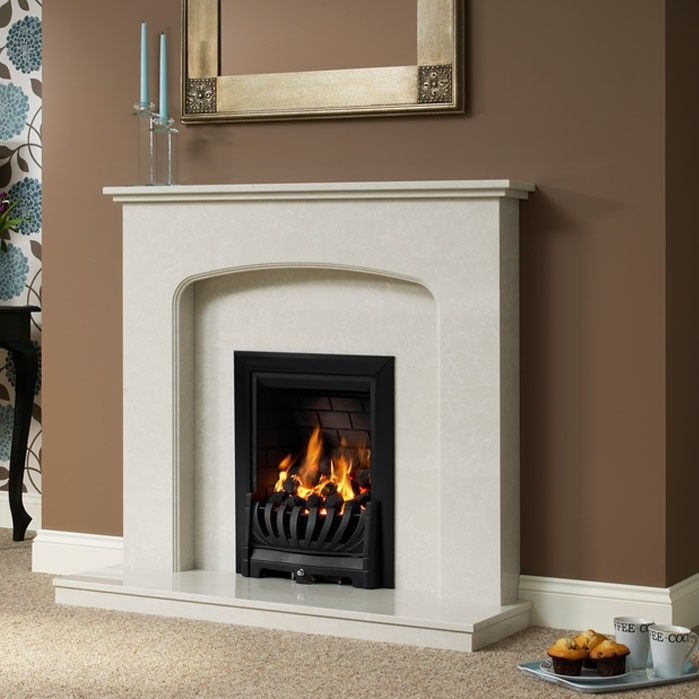 "Delicate curves and simple neat lines make this fireplace ideal for compact and smaller room sizes. Supplied complete with surround, back panel and standard lipped hearth. Ideal for gas and electric fires.Tasmin 42"" Micro Marble Surround - JUST £599 #Fireplaces #Marble #DiscountFireplaces #Cheap #Fire #HomeImprovement #HomeDecor"