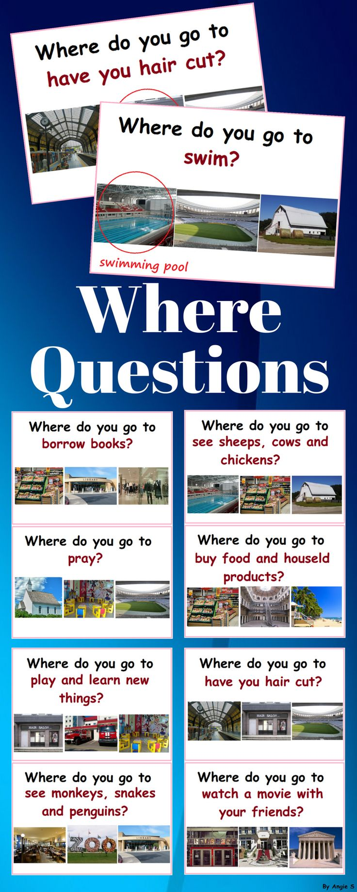 Where Questions (with community buildings) for early age, kindergarten, preschool and special education students. This is a great activity to target basic where questions and improve vocabulary on community building and places topic. #where #wherequestions #worksheets #autism #sped #specialeducation #speechtherapy #tpt #teacherspayteachers #kindergarten #printable #teaching
