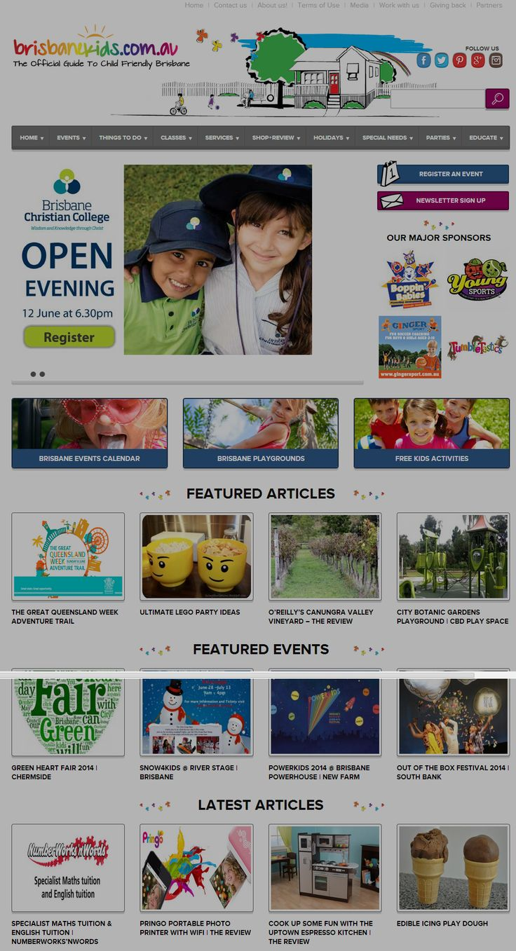 We design for the Official Guide To Child Friendly Brisbane - Brisbanekids.com.au