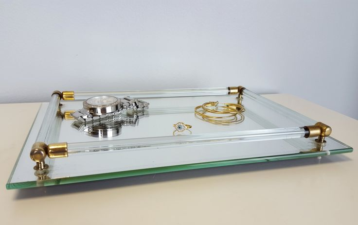 Vintage Vanity Tray Mirror Lucite Brass, Lucite and Mirror Jewelry Tray, Mirrored Decorative Tray, Dressing Table Tray, Hollywood Regency by CurioBoxx on Etsy