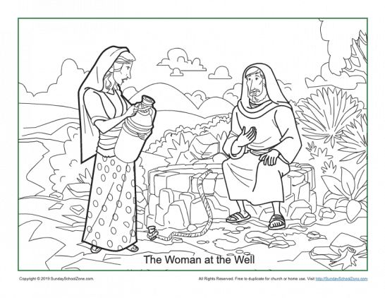 Woman At The Well Coloring Page on Sunday School Zone in