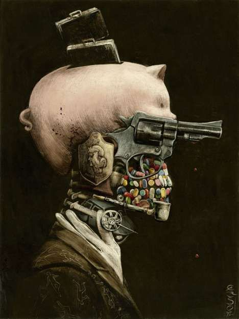 I don't even know what to say. This image just grabbed me and I can't look away. I thought face, then skeleton head, then I saw all the objects that make up the body.. This is just puzzling and awesome. Steampunk art by Santiago Caruso
