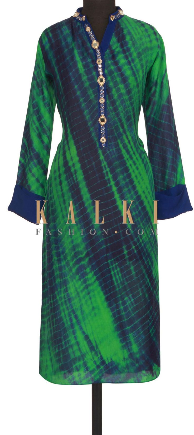 Green and blue kurti in batik print and mirror only on Kalki