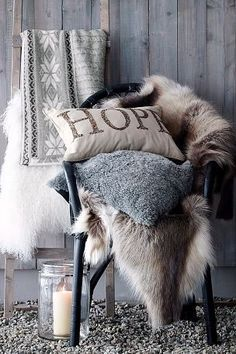 Nordic Chalet feel, the candle makes me nervous being so close to fur, but it's Editorial