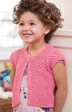 Free knitting pattern for Little Girl Shrug by Cathy Payson. Sized for 2, 4, 6, and 8 years tba