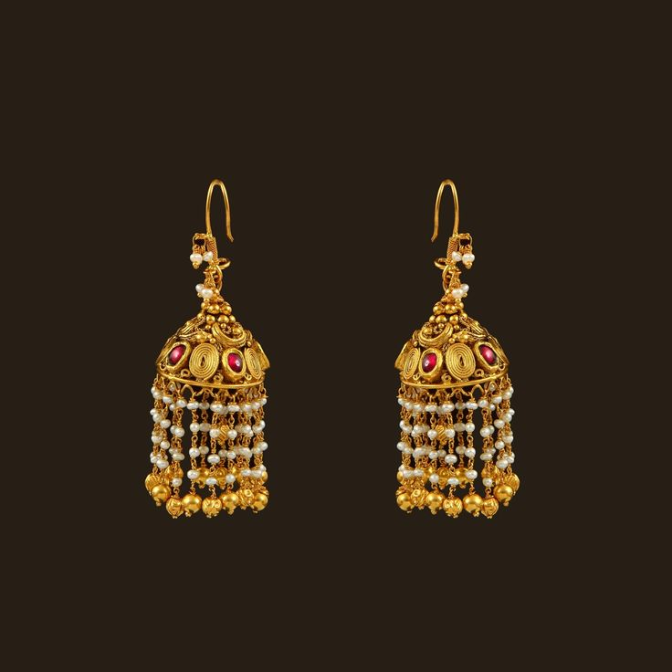 Gold Pearls Hook drops (108A36240) | Vummidi Bangaru Jewellers