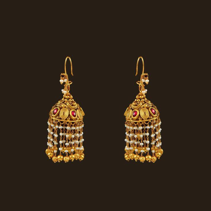 Gold Pearls Hook drops (108A36240)   Vummidi Bangaru Jewellers