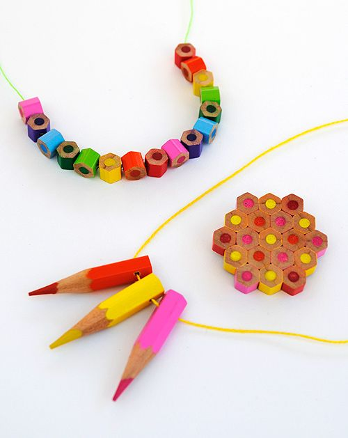 Colored pencil jewelry!Ideas, Teachers Gift, Colors Pencil, Kids, Necklaces, Pencil Jewelry, Diy, Colored Pencils, Crafts