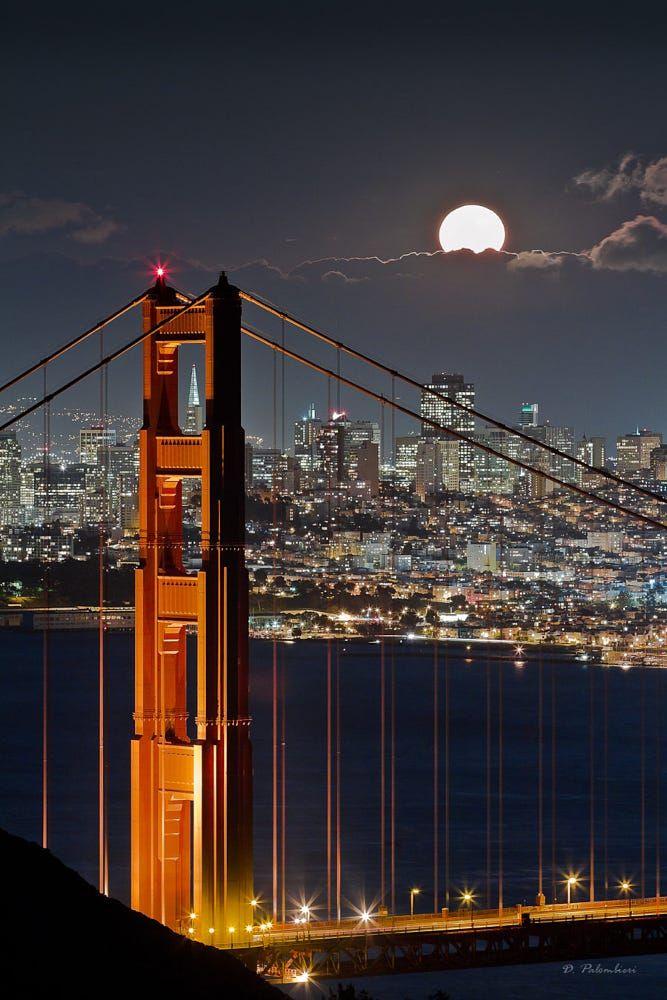 Golden Gate Bridge - Fullmoon - San Francisco - CA by Dominique  Palombieri on 500px