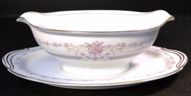 Noritake Benton Gravy Boat with Attached UnderPlate 6204 EXCELLENT! #Noritake