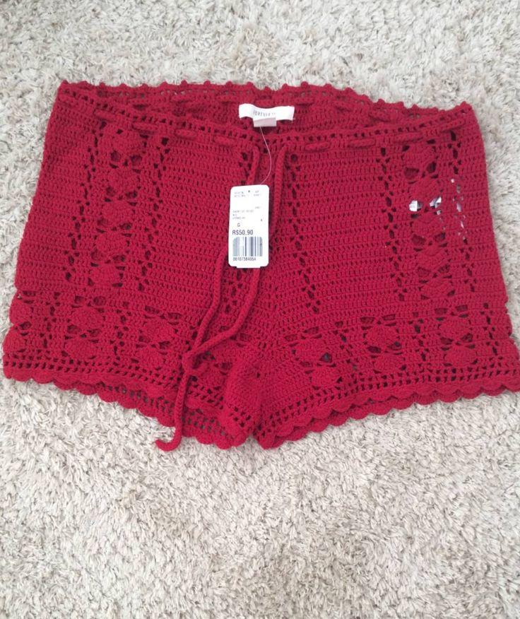 shortinho de crochê - short forever 21