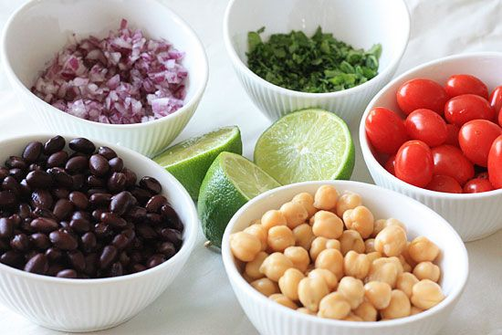 Fiesta Bean Salad | Skinnytaste (I will be omitting the chickpeas, or maybe swapping for kidney beans.  I like  hummus, but I hate chickpeas! - Kinda weird, right?)