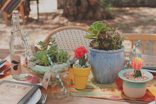 Random potted succulents for centerpieces.Plants Can, Cactus Plants, Wedding Shoes, Colors Wedding, Plants Pots Wedding, Bohemian Wedding, Colors Mixed, Mason Jars, Tables Decor