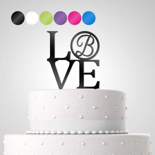 Cake Topper Tortendekoration Acryl 'Love' personalisiert mit Monogramm