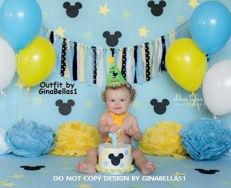 Mickey Mouse Birthday cake smash baby blue outfit by GinaBellas1